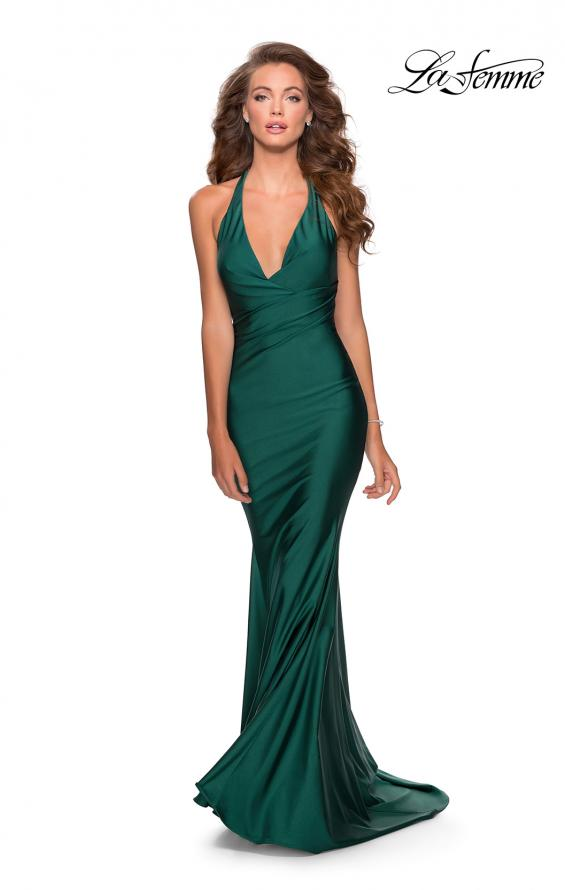 Picture of: Jersey Prom Dress with Deep Dramatic Neckline in Emerald, Style: 28579, Detail Picture 1
