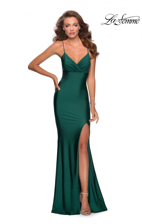 Picture of: Empire Waist Jersey Dress with Lace Up Back in Emerald, Style: 28584, Detail Picture 1