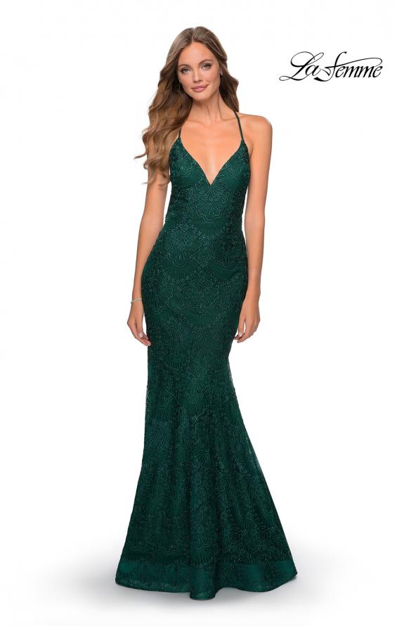 Picture of: Mermaid Prom Dress with Lace and Rhinestones in Emerald, Style: 28643, Detail Picture 1