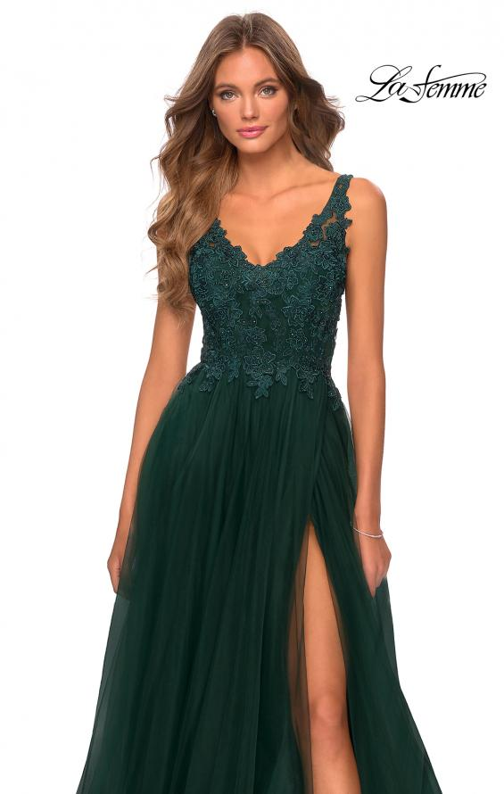 Picture of: Pretty A-line Prom Dress with Sheer Floral Bodice in Emerald, Style: 28680, Detail Picture 1