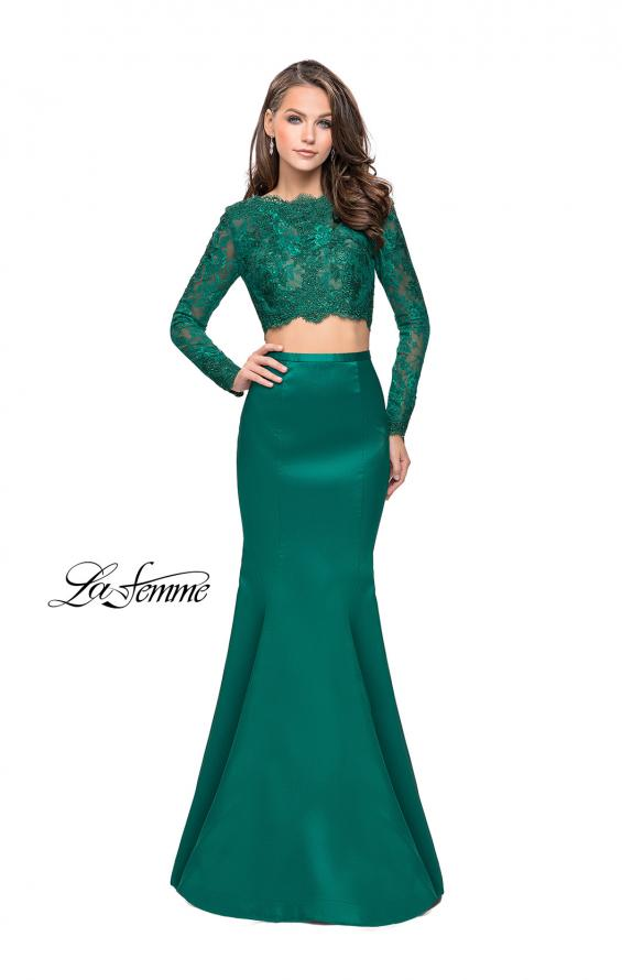 Picture of: Two Piece Mermaid Dress with Lace Top and Rhinestones in Emerald, Style: 25324, Detail Picture 2