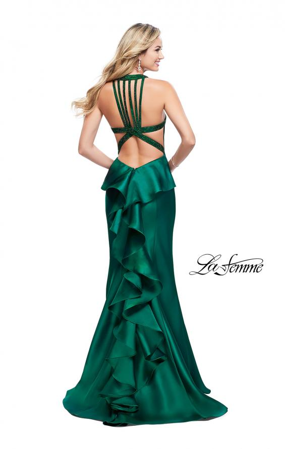 Picture of: Mikado Mermaid Dress with Embellished High Neckline in Emerald, Style: 25838, Detail Picture 2