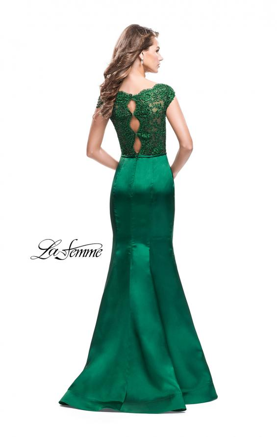 Picture of: Off the Shoulder Mikado Prom Dress with Lace and Beads in Emerald, Style: 25926, Detail Picture 2