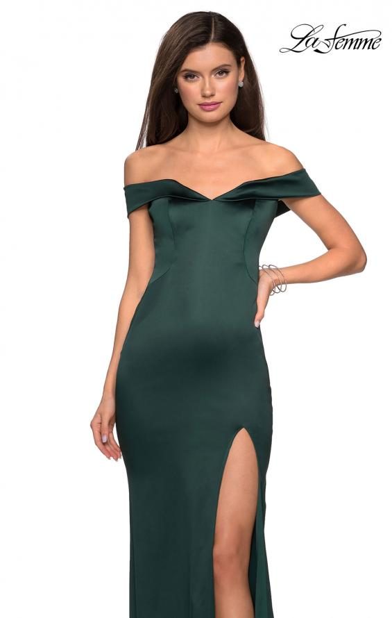 Picture of: Form Fitting Off the Shoulder Satin Prom Dress in Emerald, Style: 27752, Detail Picture 2