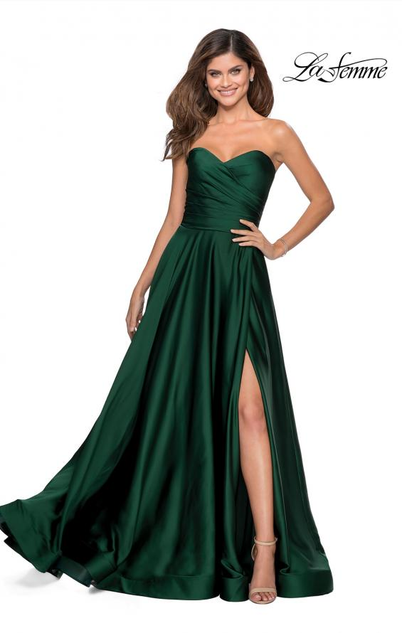 Picture of: Strapless Satin Gown with Pleated Bodice and Slit in Emerald, Style: 28608, Detail Picture 2