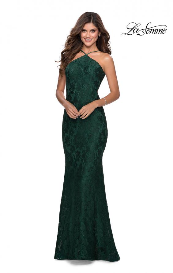 Picture of: Open Back Jersey Prom Dress with High Neckline in Emerald, Style: 28619, Detail Picture 2