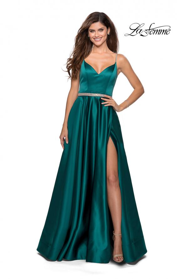 Picture of: Satin A-line Gown with Rhinestone Belt and Straps in Emerald, Style: 28695, Detail Picture 2
