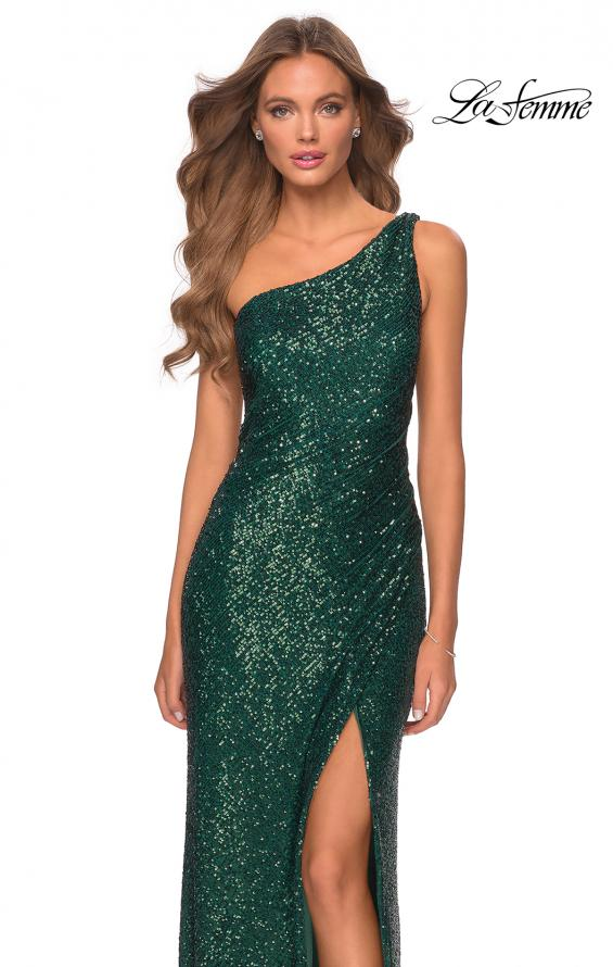 Picture of: Long Sequin One Shoulder Ruched Prom Dress in Emerald, Style: 28401, Detail Picture 3