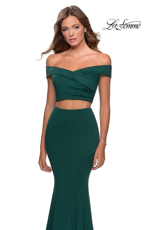Picture of: Two Piece Off The Shoulder Dress with Pleated Top in Emerald, Style: 28521, Detail Picture 3