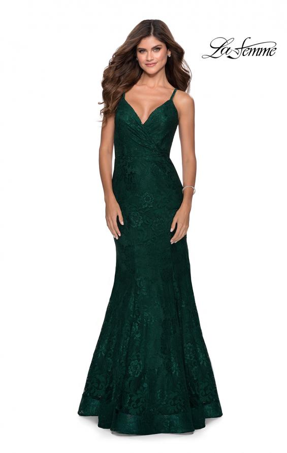 Picture of: Mermaid Lace Prom Dress with Faux Wrap Top in Emerald, Style: 28564, Detail Picture 3