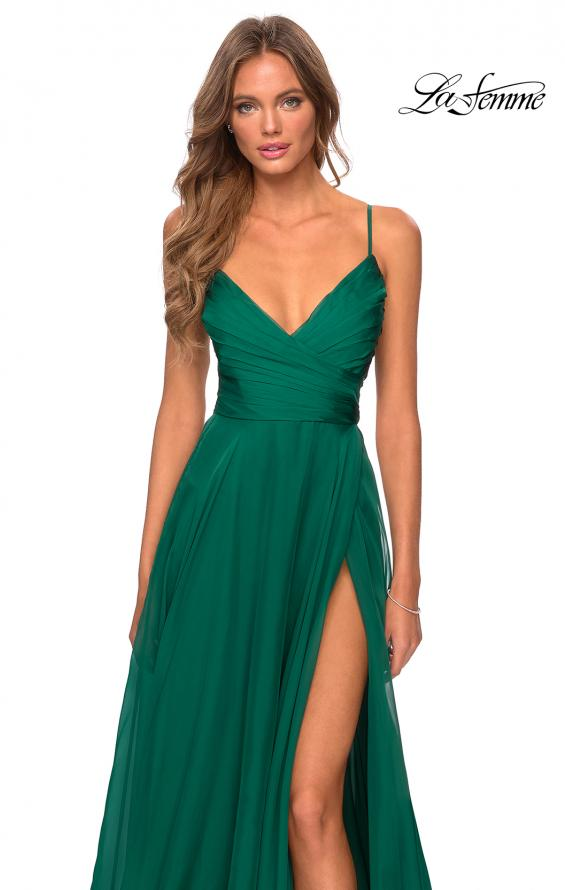 Picture of: Elegant Long Chiffon Prom Dress with Pleated Bodice in Emerald, Style: 28575, Detail Picture 3