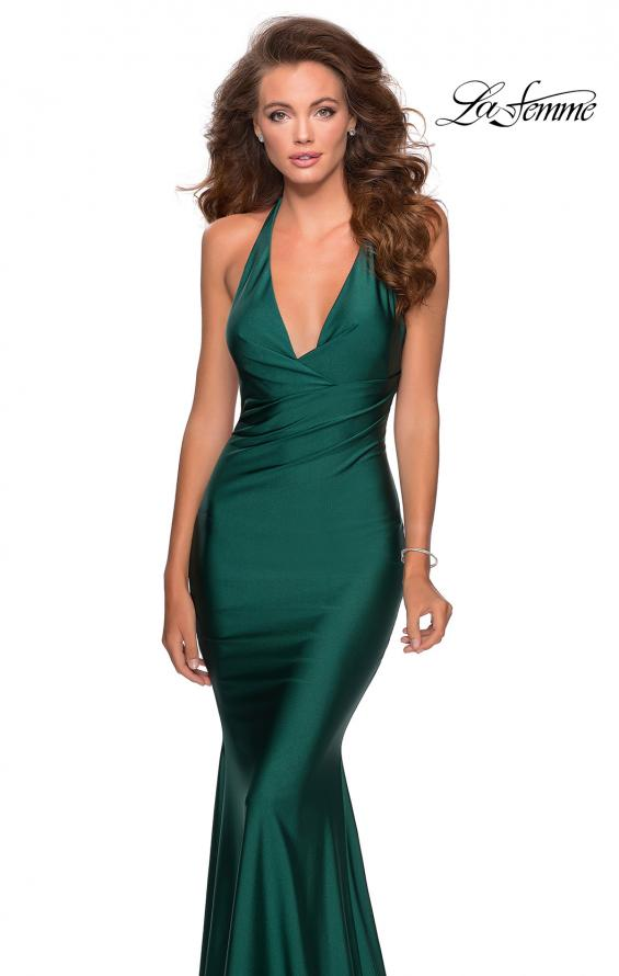 Picture of: Jersey Prom Dress with Deep Dramatic Neckline in Emerald, Style: 28579, Detail Picture 3