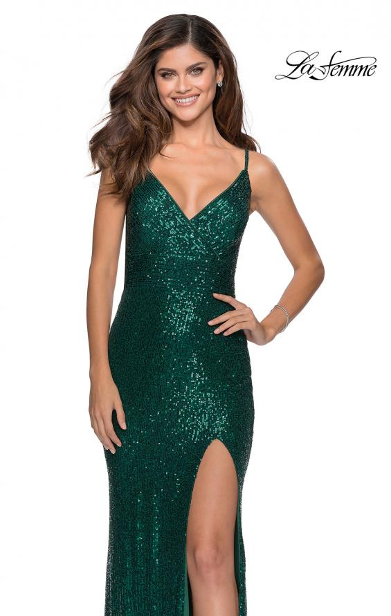 Picture of: Form Fitting Sequin Dress with Cut Out Open Back in Emerald, Style: 28616, Detail Picture 3