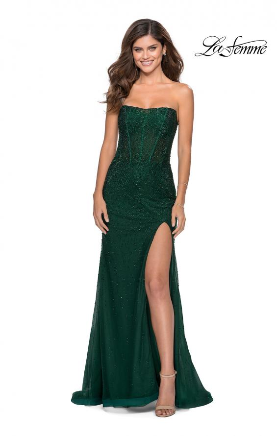 Picture of: Rhinestone Strapless Tulle Dress with Sheer Bodice in Emerald, Style: 28621, Detail Picture 3