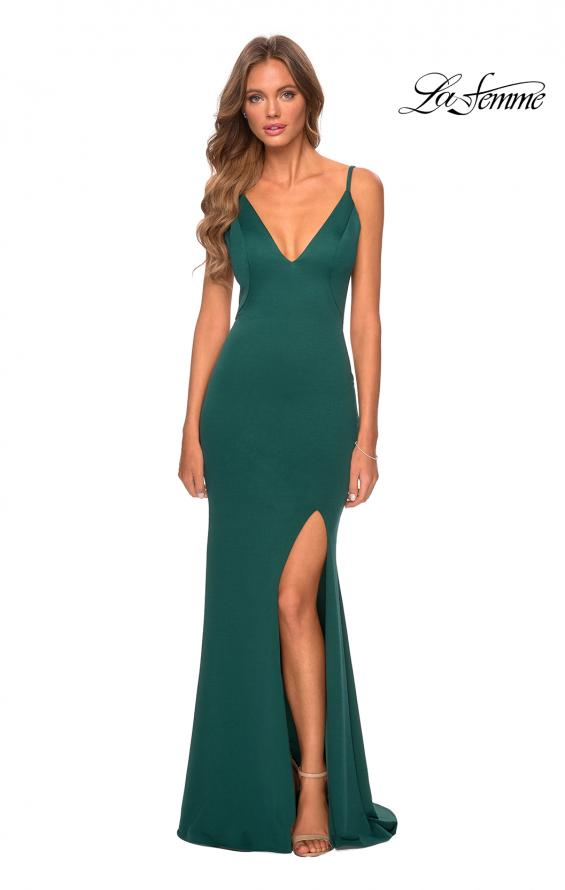 Picture of: Jersey Prom Gown with Lace Up Back and Slit in Emerald, Style: 28653, Detail Picture 3