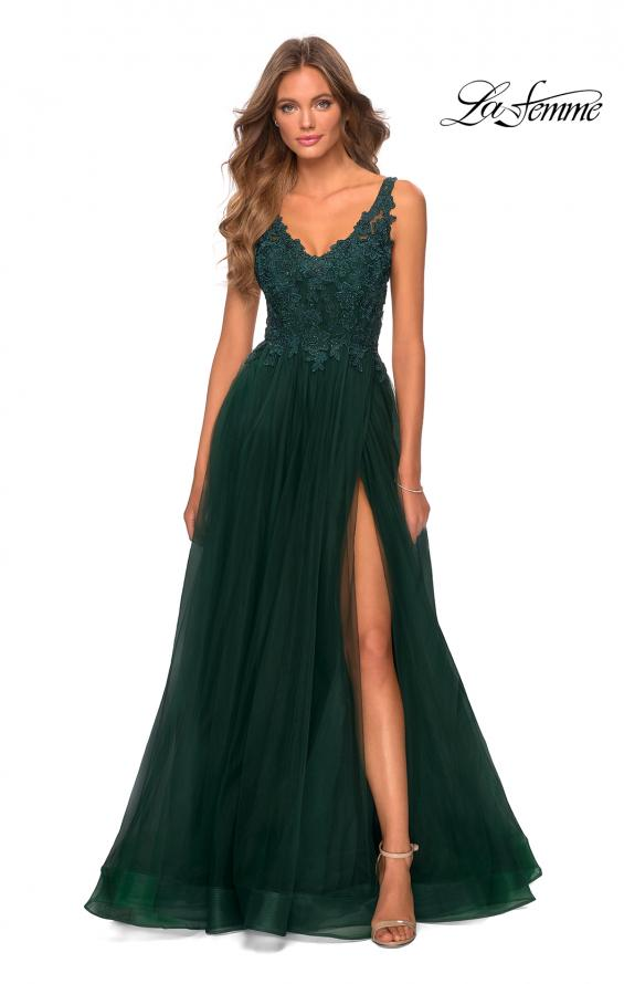 Picture of: Pretty A-line Prom Dress with Sheer Floral Bodice in Emerald, Style: 28680, Detail Picture 3