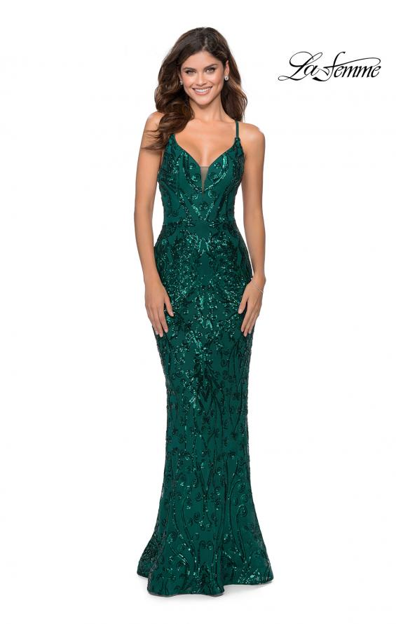Picture of: Long Prom Dress with Intricate Sequin Lace Design in Emerald, Style: 28828, Detail Picture 3