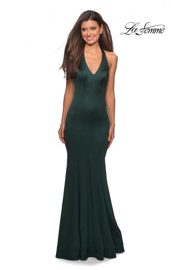 Picture of: Form Fitting Halter Satin Dress with Open Back in Emerald, Style: 27653, Detail Picture 4