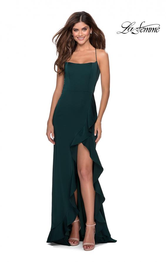 Picture of: Ruffle Prom Dress with Scoop Neck and Lace Up Back in Emerald, Style: 28294, Detail Picture 4