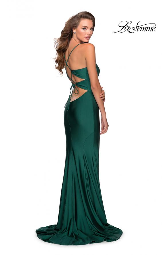 Picture of: Empire Waist Jersey Dress with Lace Up Back in Emerald, Style: 28584, Detail Picture 4