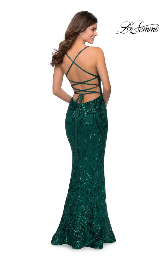 Picture of: Long Prom Dress with Intricate Sequin Lace Design in Emerald, Style: 28828, Detail Picture 4