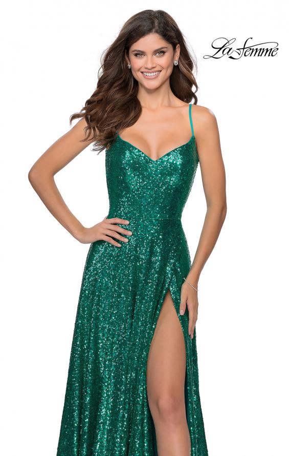 Picture of: Floor Length Sequin Dress with Faux Wrap Skirt in Emerald, Style: 28909, Detail Picture 4