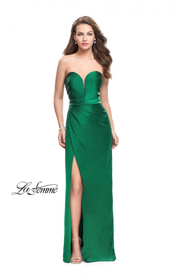 Picture of: Long Strapless Satin Prom Dress with Side Ruching, Style: 26017, Detail Picture 5