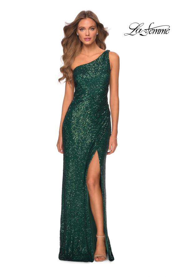 Picture of: Long Sequin One Shoulder Ruched Prom Dress in Emerald, Style: 28401, Detail Picture 5
