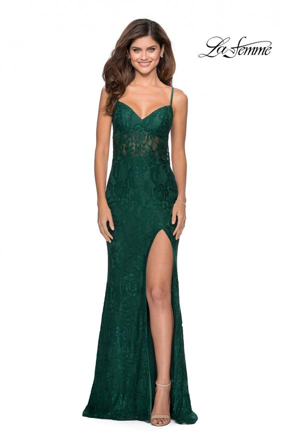 Picture of: Lace Prom Gown With Sheer Bodice and Tie Up Back in Emerald, Style: 28534, Detail Picture 5