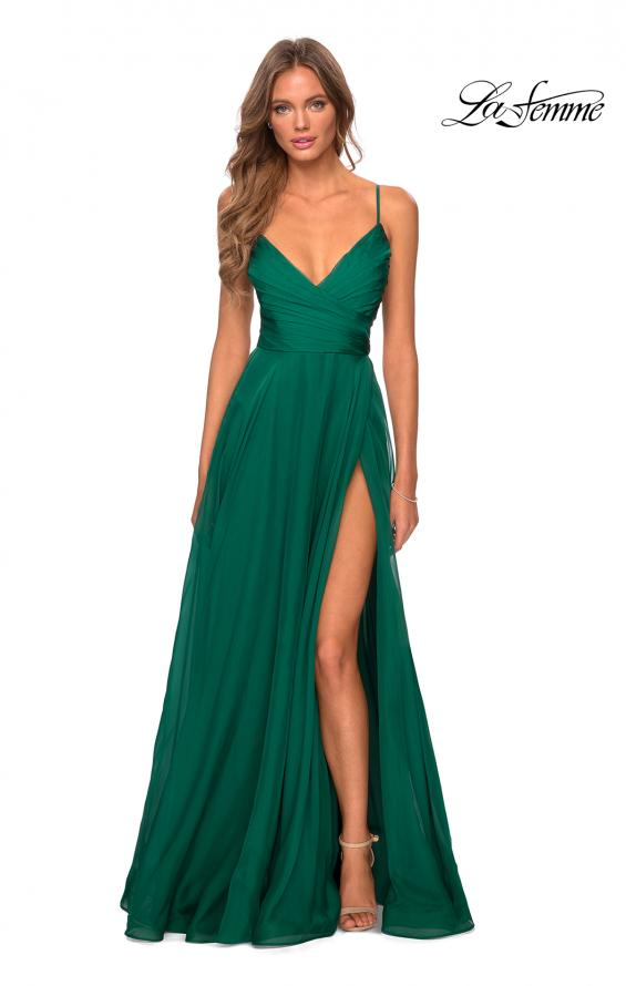 Picture of: Elegant Long Chiffon Prom Dress with Pleated Bodice in Emerald, Style: 28575, Detail Picture 5