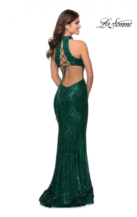 Picture of: Long Sequin Gown with High Neckline and Lace Back in Emerald, Style: 28612, Detail Picture 5