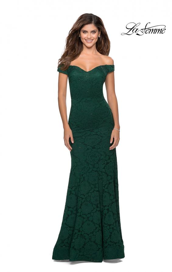 Picture of: Long Off the Shoulder Prom Dress with Lace Up Back in Emerald, Style: 28545, Detail Picture 6