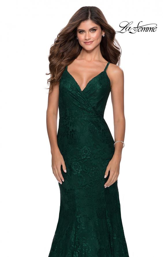 Picture of: Mermaid Lace Prom Dress with Faux Wrap Top in Emerald, Style: 28564, Detail Picture 6