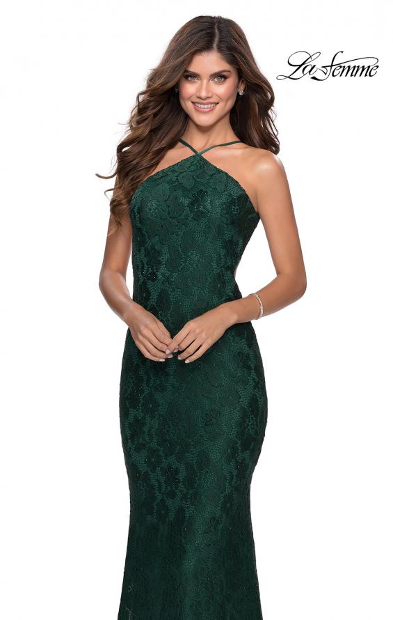 Picture of: Open Back Jersey Prom Dress with High Neckline in Emerald, Style: 28619, Detail Picture 6
