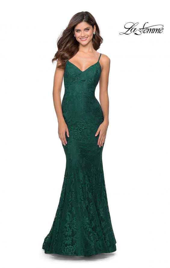 Picture of: Long Mermaid Lace Prom Dress with V Shaped Neckline in Emerald, Style: 28504, Detail Picture 7