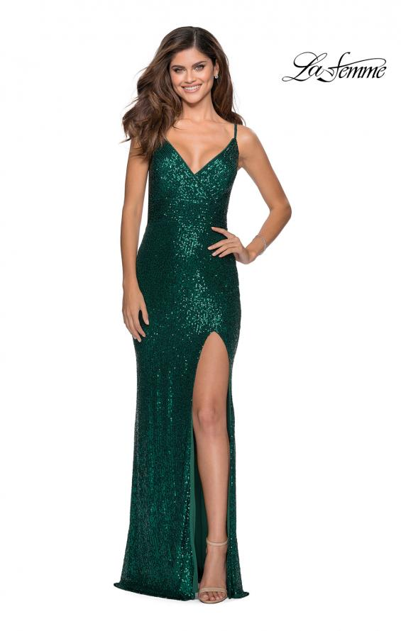 Picture of: Form Fitting Sequin Dress with Cut Out Open Back in Emerald, Style: 28616, Detail Picture 7
