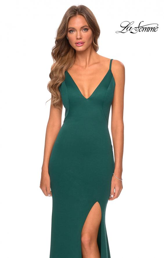 Picture of: Jersey Prom Gown with Lace Up Back and Slit in Emerald, Style: 28653, Detail Picture 7