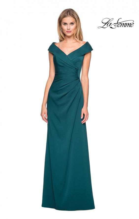 Picture of: Satin Floor Length Gown with Ruched Detailing in Evergreen, Style: 26523, Main Picture
