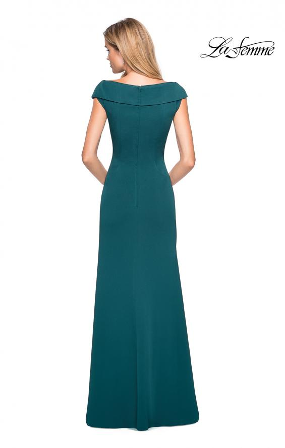 Picture of: Satin Floor Length Gown with Ruched Detailing in Evergreen, Style: 26523, Back Picture