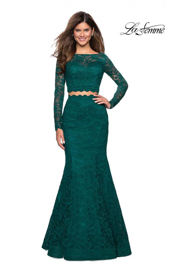 Picture of: Stretch Lace Long Sleeve Two Piece Prom Dress, Style: 27601, Main Picture