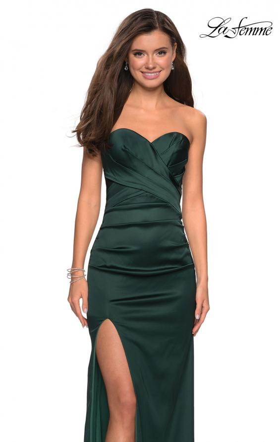 Picture of: Body Forming Strapless Satin Dress with Side Slit in Forest Green, Style: 27780, Main Picture