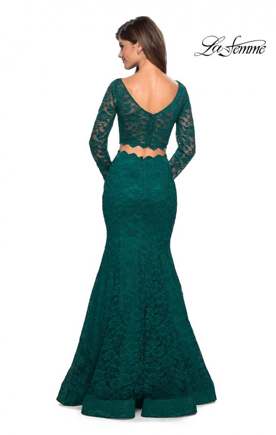 Picture of: Stretch Lace Long Sleeve Two Piece Prom Dress, Style: 27601, Back Picture