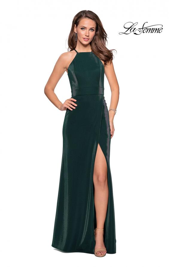 Picture of: Two Tone Long Gown with High Neckline and Side Slit, Style: 26962, Detail Picture 2