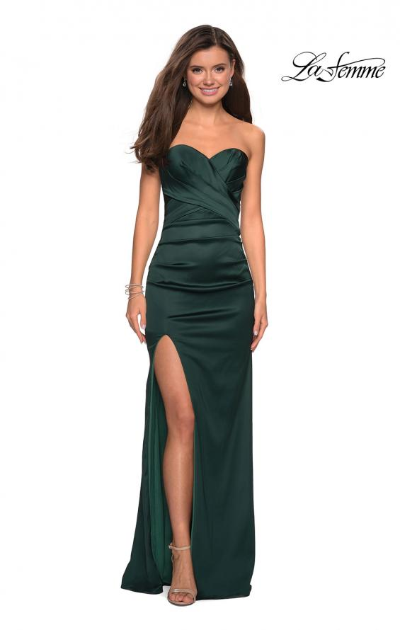 Picture of: Body Forming Strapless Satin Dress with Side Slit in Forest Green, Style: 27780, Detail Picture 4