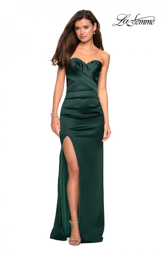 Picture of: Body Forming Strapless Satin Dress with Side Slit in Forest Green, Style: 27780, Detail Picture 6