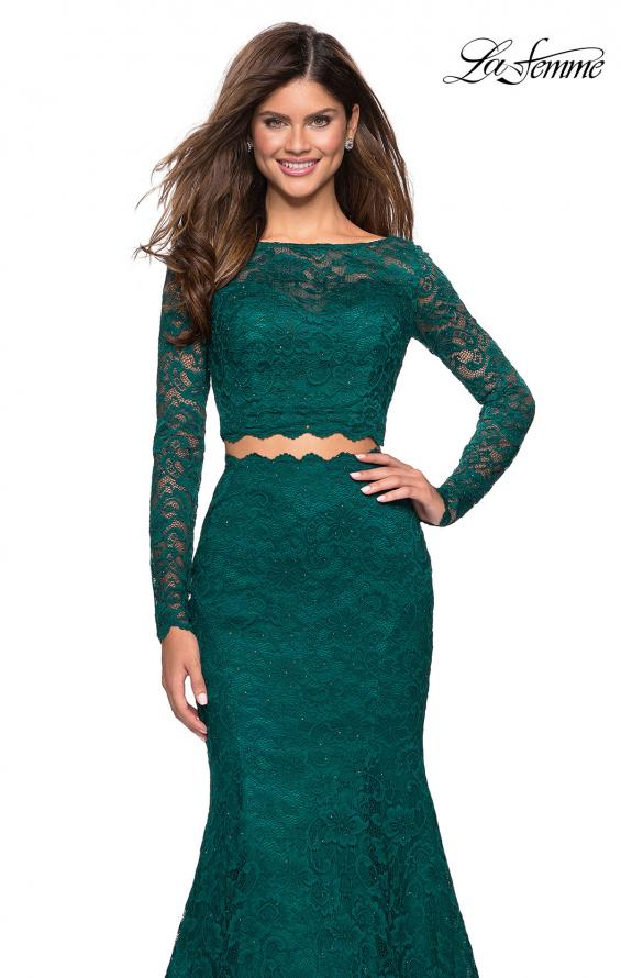 Picture of: Stretch Lace Long Sleeve Two Piece Prom Dress, Style: 27601, Detail Picture 7