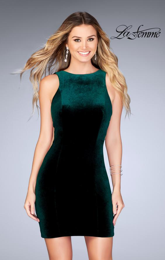Picture of: High Neck Gown with Open Back and Illusion Sides in Forest Green, Style: 25007, Detail Picture 1