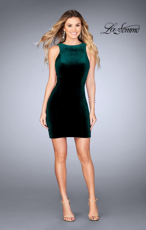 Picture of: High Neck Gown with Open Back and Illusion Sides in Forest Green, Style: 25007, Detail Picture 5