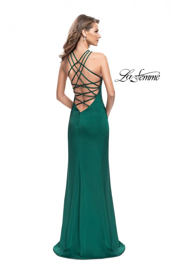 Picture of: Long Satin Halter Prom Dress with Criss Cross Back in Forest Green, Style: 25439, Main Picture