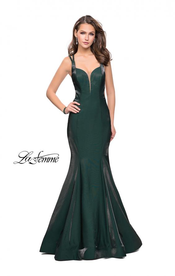 Picture of: Form Fitting Mermaid Prom Dress with Side Cut Outs in Forest Green, Style: 25813, Main Picture